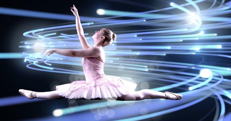 Balettdansördans med att bukta linjer av ljust glöda royaltyfri foto