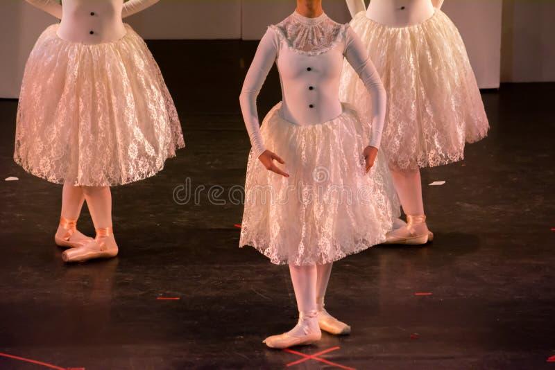 Balettdansörer med klassiska klänningar som utför en balett på suddighetsbakgrund arkivbild