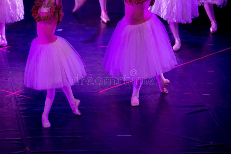 Balettdansörer under purpurfärgat ljus med klassiska klänningar som utför en balett på suddighetsbakgrund arkivfoton