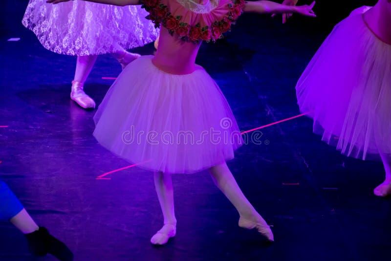 Balettdansörer under purpurfärgat ljus med klassiska klänningar som utför en balett på suddighetsbakgrund arkivfoto