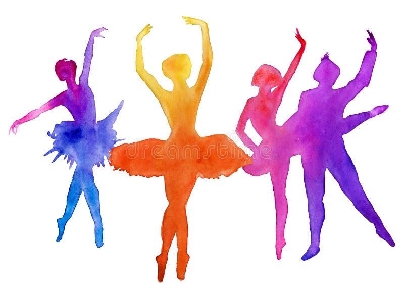 Balettdansörerna dansare bakgrund isolerad white för flygillustration för näbb dekorativ bild dess paper stycksvalavattenfärg royaltyfri illustrationer