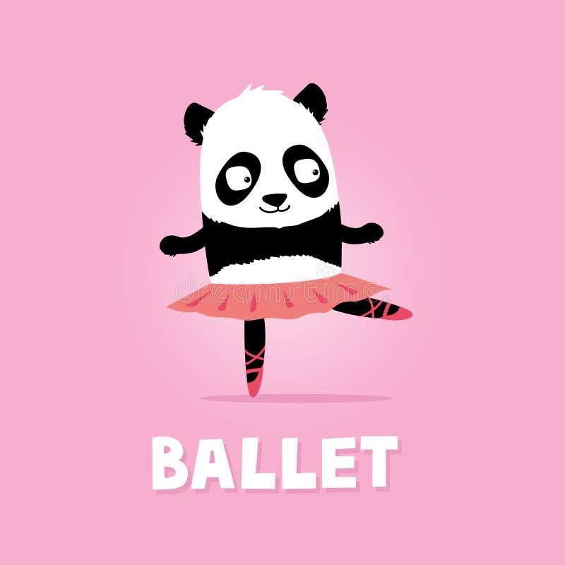 Balettdansörpandabjörn Gullig tecknad filmillustration på rosa bakgrund stock illustrationer