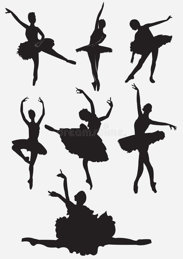 balettdansörsilhouettes vektor illustrationer