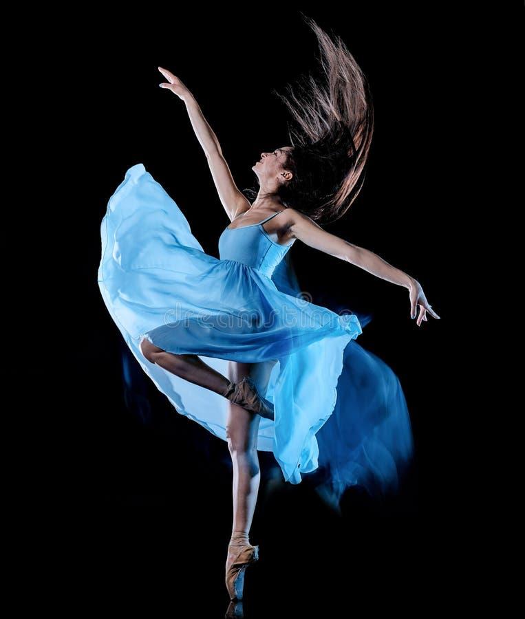 Balettdans?r f?r ung kvinna som dansar isolerad svart bakgrundsljusm?lning royaltyfri fotografi