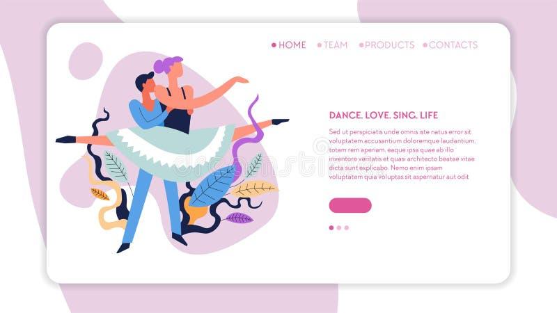 Balettdansflicka och webbsida för grabbdansgrupper vektor illustrationer