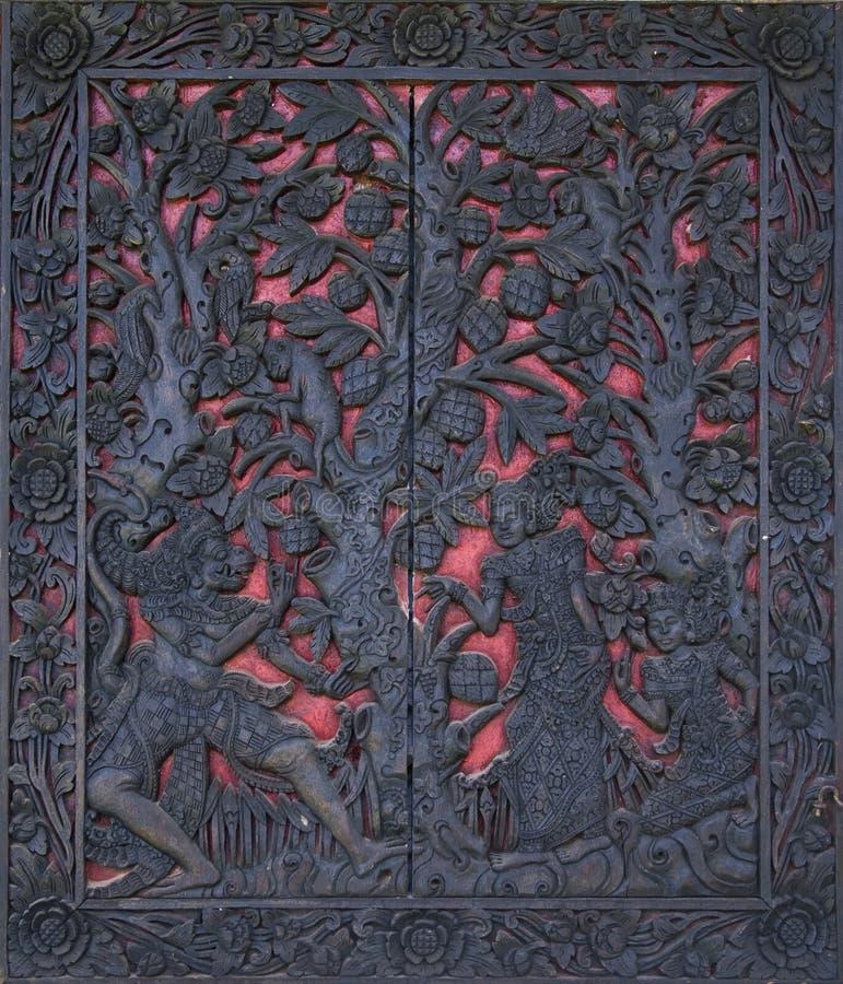 bali высекая древесину стоковое изображение rf