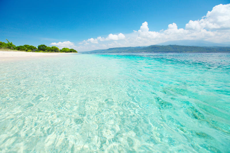 Bali. Sandy coast of a wild beach and clear sea of the Bali Barat National Park stock images