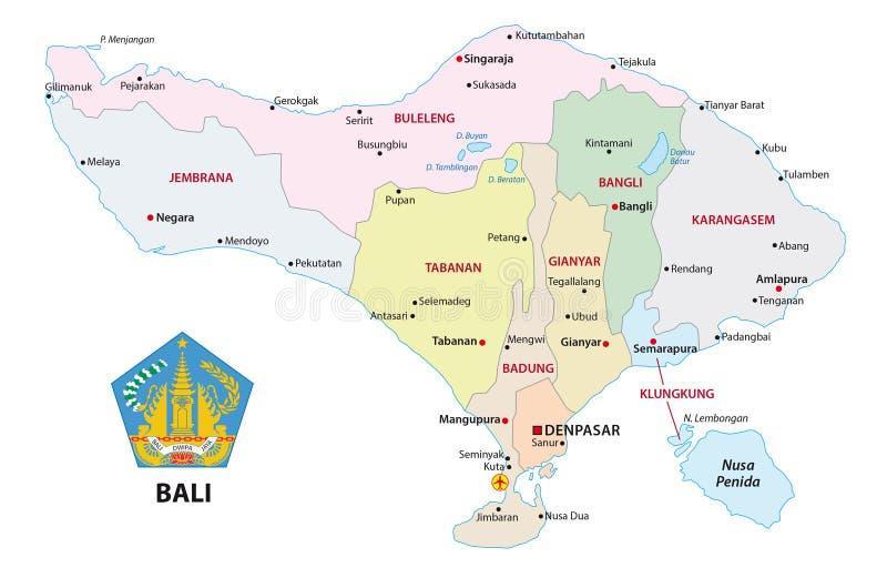 Bali administracyjna i polityczna wektorowa mapa z foką royalty ilustracja