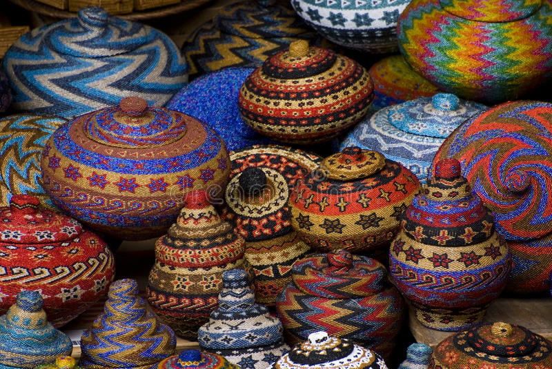 Bali Art Market. The village of Ubud boasts of having a thriving arts and crafts market. Here are some colorful beaded baskets all handmade stock images