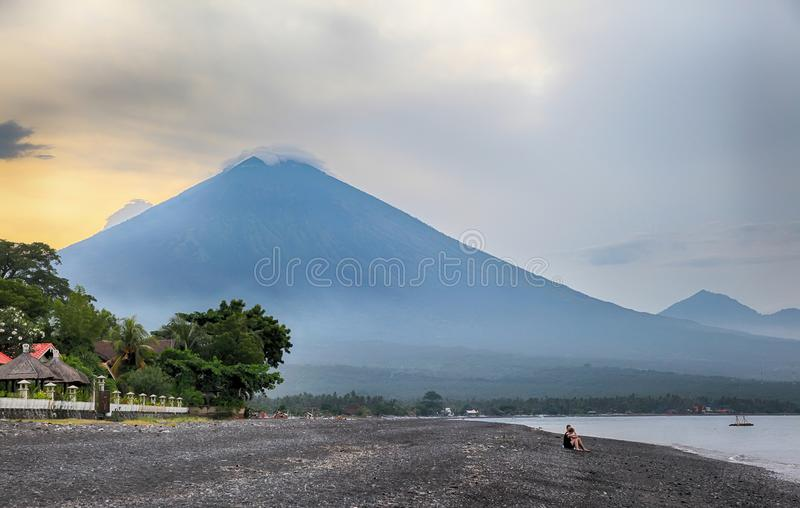 Bali. Volcano Agung in Amed stock photos