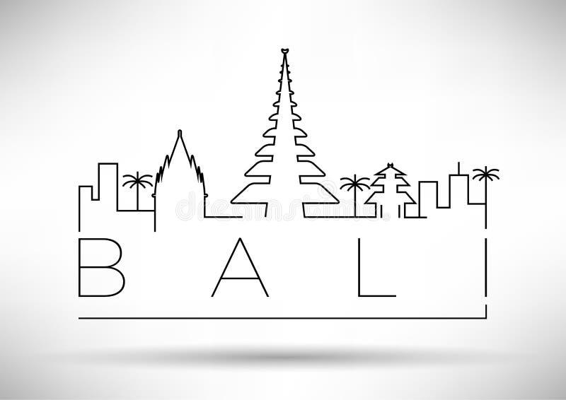 Bali City Line Silhouette Typographic Design vector illustration