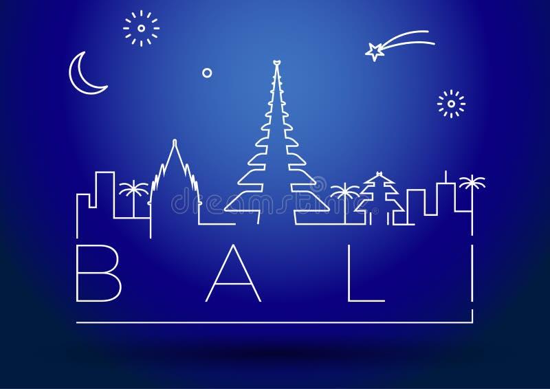 Bali City Line Silhouette Typographic Design royalty free illustration