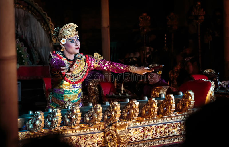 Bali dancer performing traditonal Legong. Traditional Legong dance of Ramayana in Ubud, Bali, Indonesia. Balinese dances are a very ancient dance tradition that royalty free stock photography