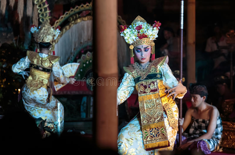 Bali dancers performing traditonal Legong. Traditional Legong dance of Ramayana in Ubud, Bali, Indonesia. Balinese dances are a very ancient dance tradition that royalty free stock images
