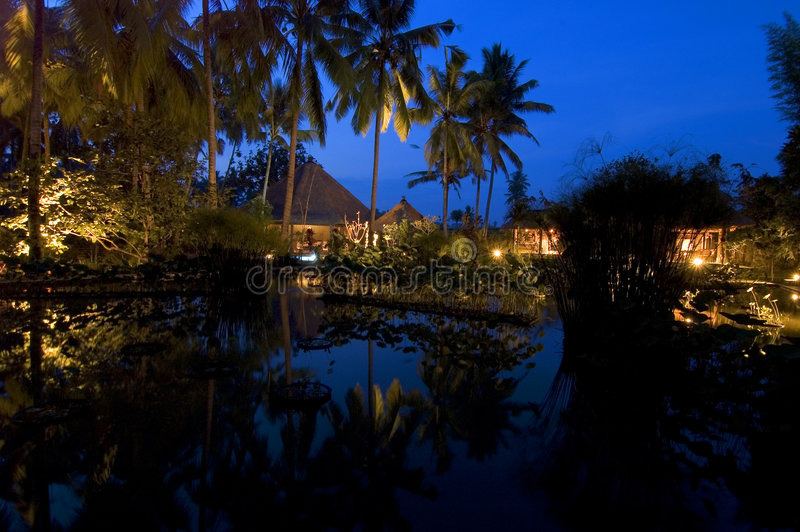 Download Bali Evening stock image. Image of palms, reflection, buildings - 72855