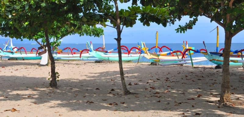 Bali Fishing Boats Panorama at Sanur, Indonesia. royalty free stock images
