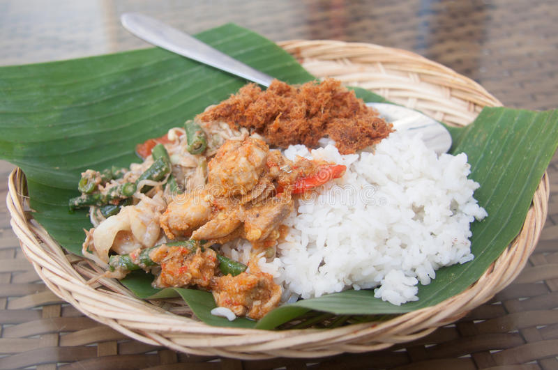 Bali Food. Traditional Balinese cuisine. Vegetable and Pork royalty free stock photo