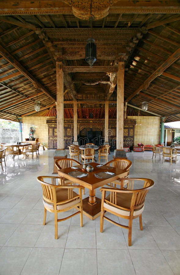 Bali-Gaststätteinnenraum stockfoto
