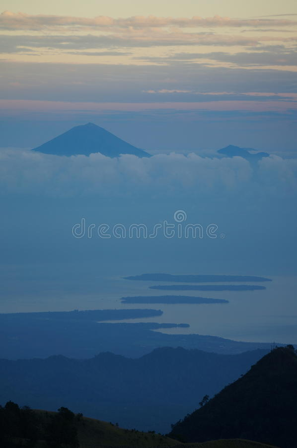 Bali and The Gili Islands from Lombok. View of Bali across the Gili Islands, taken from Lombok stock photography