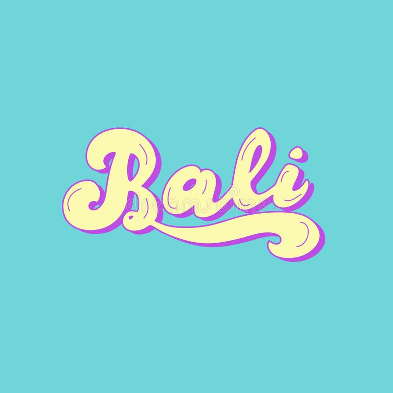 Bali hand drawn text. Beach party retro style. Travel, hotel, surfing school poster. Vector eps 10 royalty free illustration