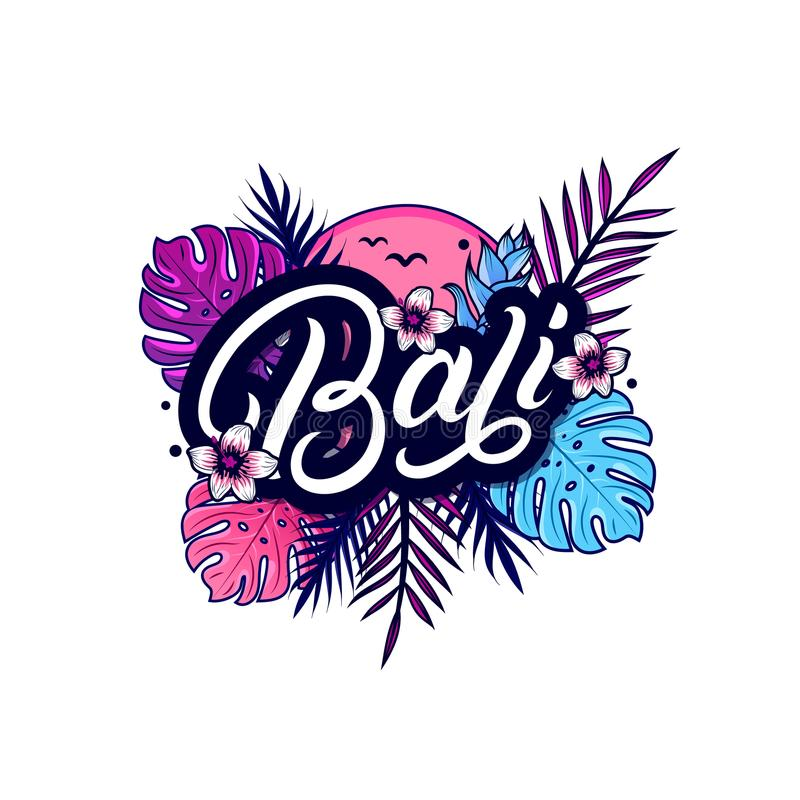 Bali hand written lettering with palm stock illustration