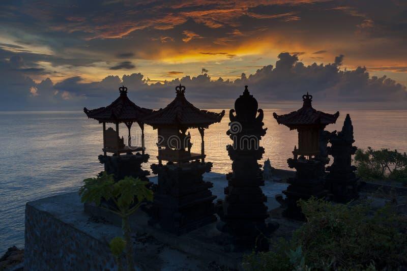 Bali Hindu Shrines During Sunrise royalty free stock images