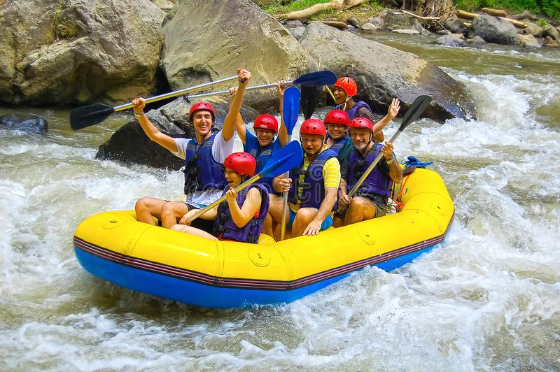 Bali, Indonesia - April 11, 2012: Rafting in the canyon on Balis mountain river stock photography
