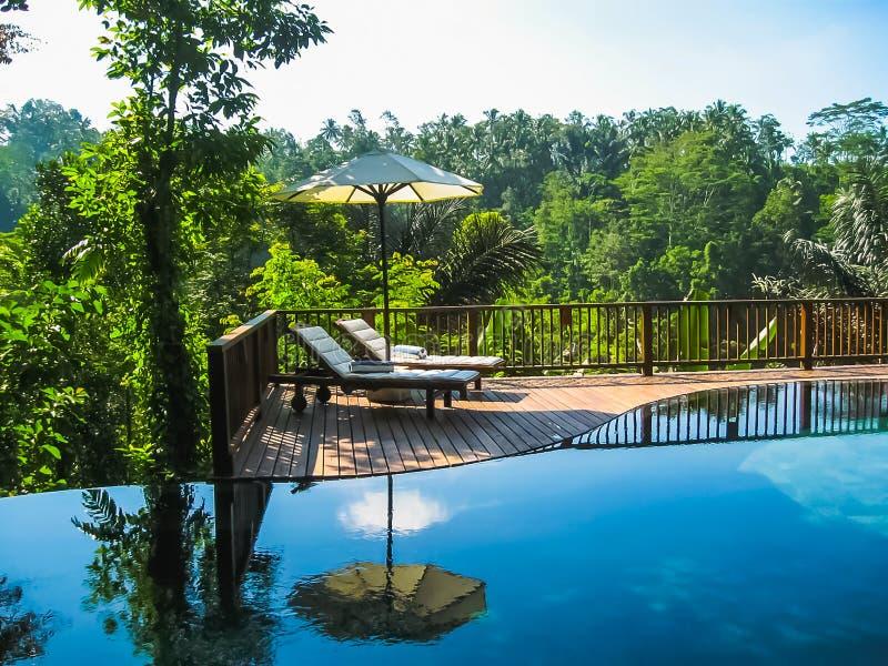 Bali, Indonesia - 14 aprile 2014: Punto di vista della piscina alla località di soggiorno ed alla stazione termale della giungla  fotografia stock libera da diritti