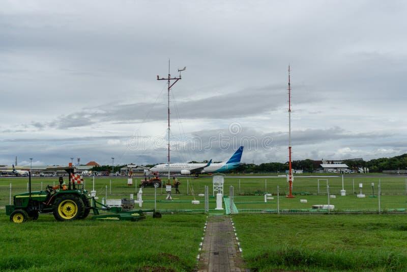 BALI/INDONESIA- 21 DICEMBRE 2019: alcuni pulitori dell'aeroporto hanno tagliato l'erba intorno alla pista facendo uso di una falc immagine stock