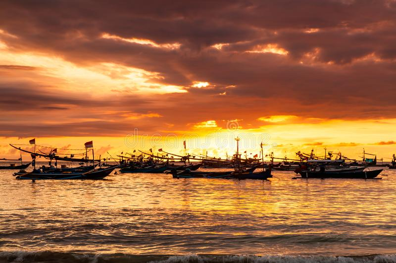 Bali, Indonesia. Fishing boats at sunset. Travel landscape. stock images