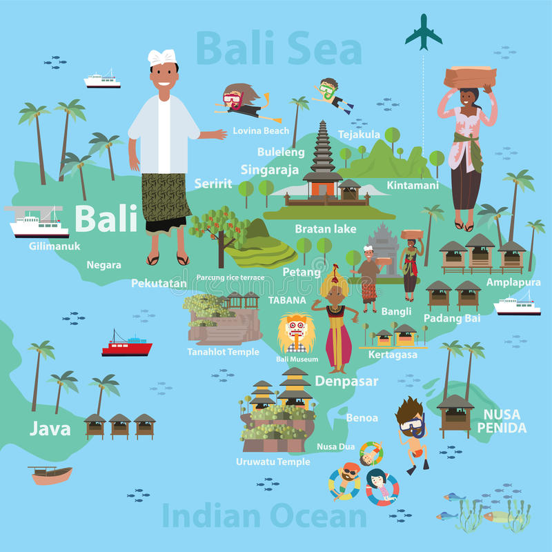 Bali Indonesia map and travel royalty free illustration