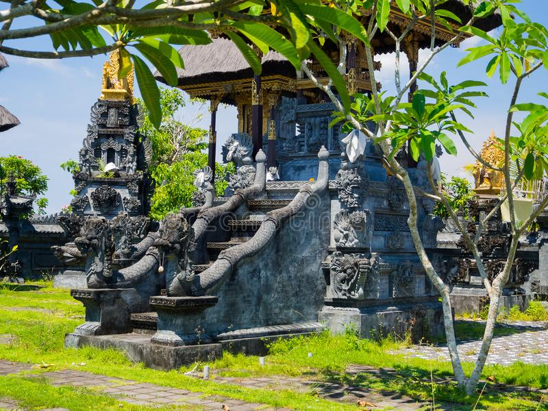 BALI, INDONESIA - MARCH 11, 2017: Close up of a stoned structure in Uluwatu temple in Bali island, Indonesia royalty free stock images