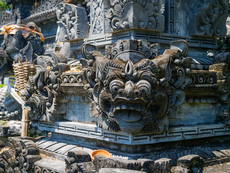 BALI, INDONESIA - MARCH 11, 2017: Close up of a stoned structure in Uluwatu temple in Bali island, Indonesia stock photo