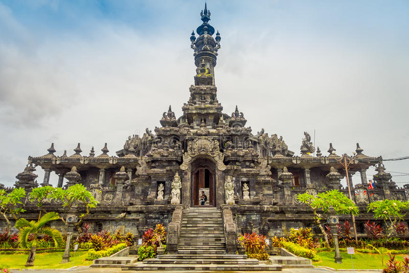 BALI, INDONESIA - MARCH 08, 2017: Panoramic landscape traditional balinese hindu temple Bajra Sandhi monument in royalty free stock images