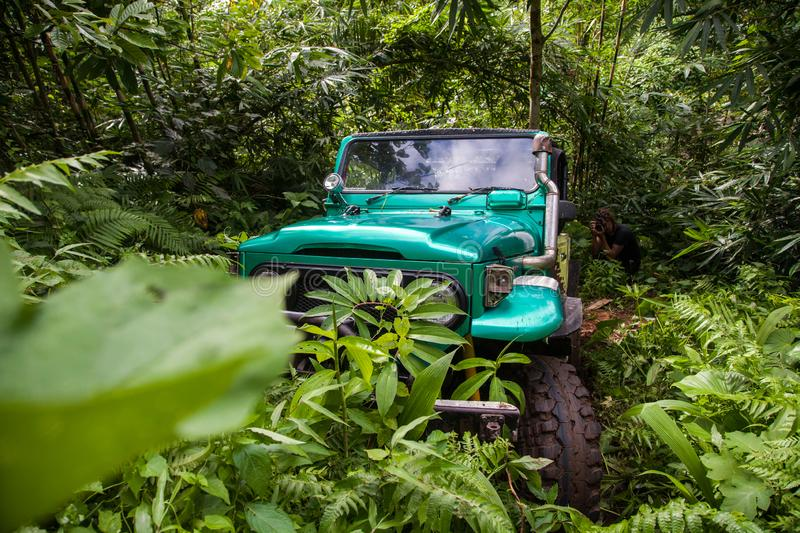 Bali. Indonesia - March 7, 2013 SUV in the tropical jungle royalty free stock photography