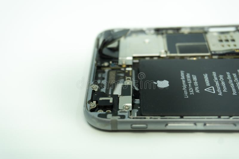 BALI/INDONESIA-MAY 17 2019: Photo of a iPhone 6 with broken display. Isolated on white with copy space royalty free stock image