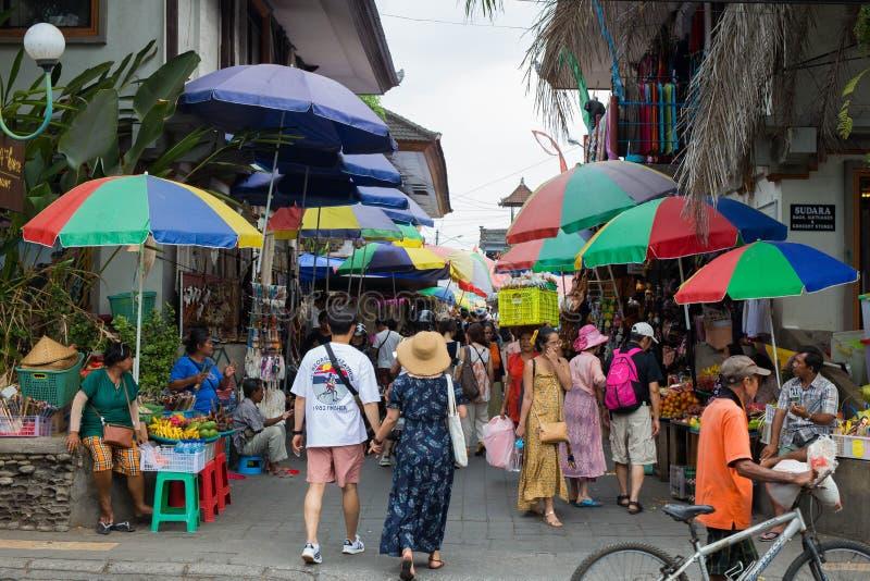 Bali, Indonesia, Sept 20, 2019 Crowded market at Ubud city stock photo