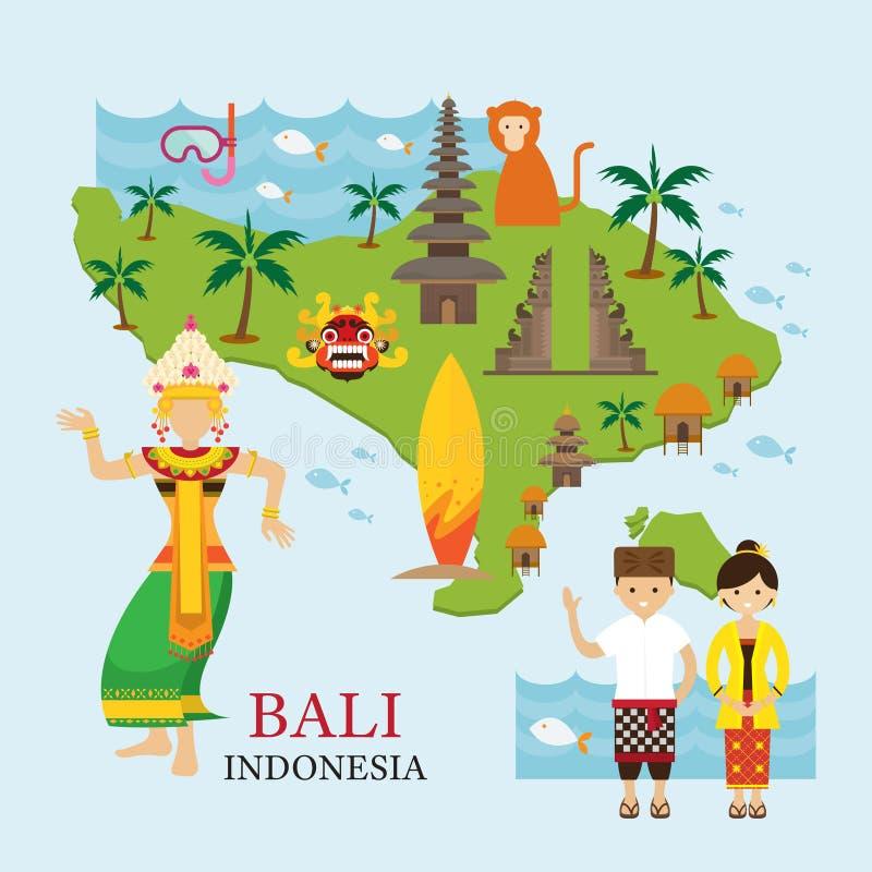 Bali, Indonezja mapa z podróżą i przyciąganiem ilustracji