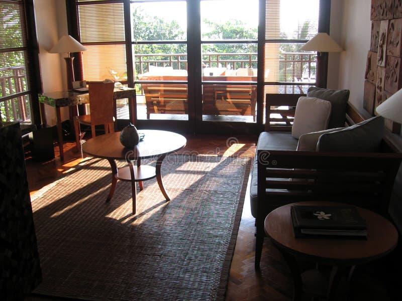 bali interiorvilla fotografering för bildbyråer