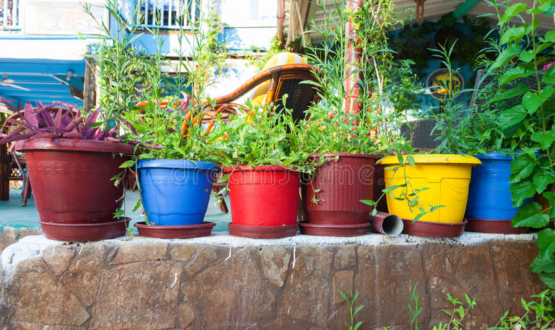 Bali, Island Crete, Greece, - June 24, 2016: View on the flowers in pots in cafe in the village Bali stock images