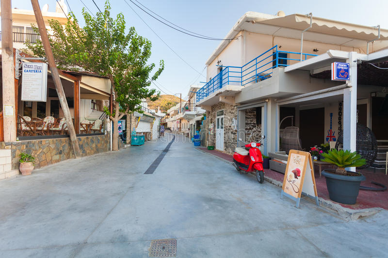 Bali, Island Crete, Greece, - June 24, 2016: View on the small empty street of village Bali royalty free stock images
