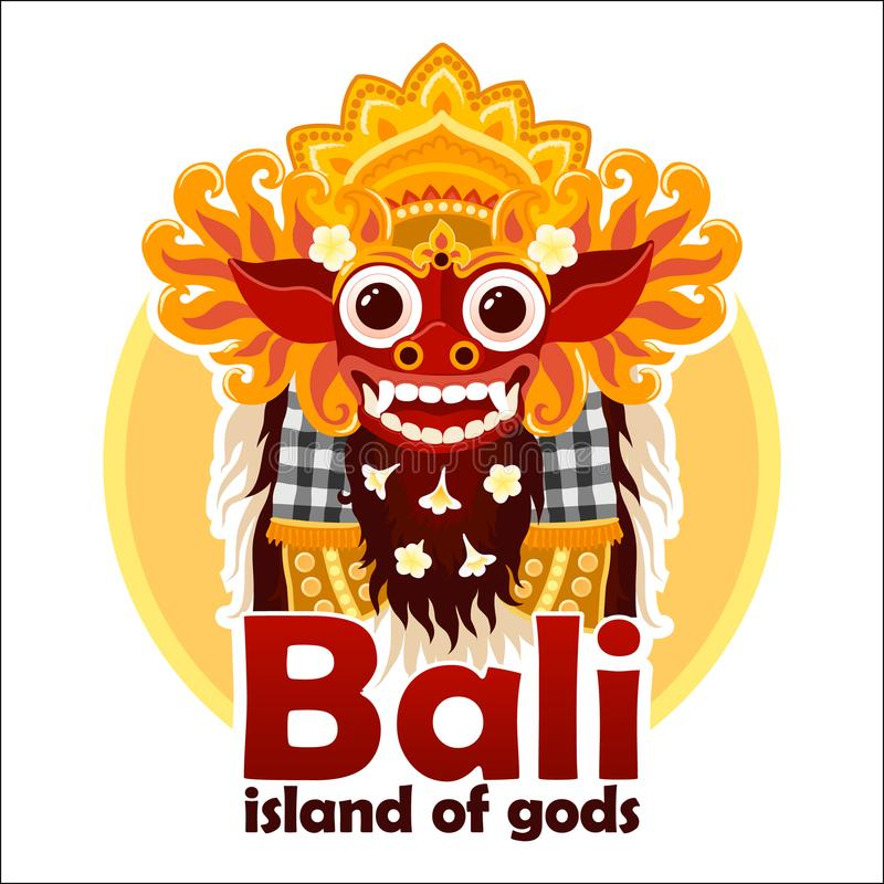 Bali island of gods sign with bright traditional Balinese Barong mask isolated on white background stock illustration