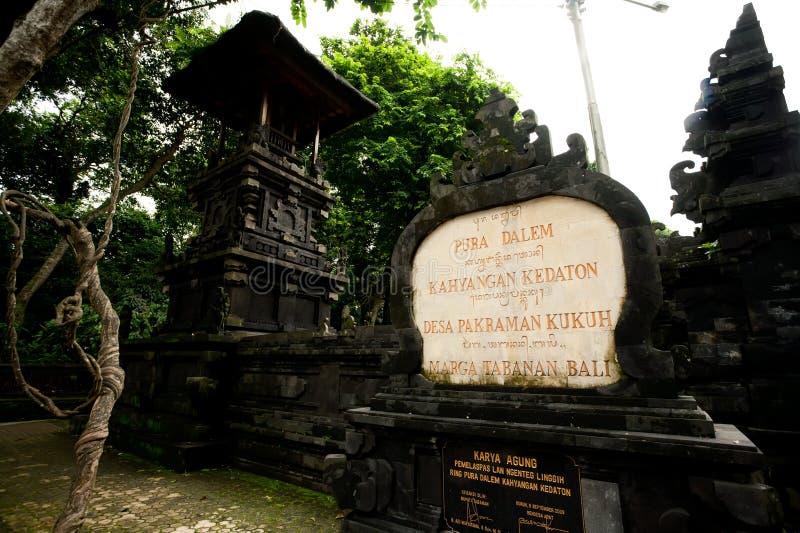 BALI - JANUARI 2:  Pura Dalem tempel på JANUARI 2, 2012, Bali, arkivfoto