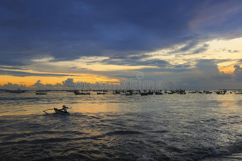 Bali - Jimbaran Beach. Jimbaran is a fishing village and tourist resort in Bali, Indonesia royalty free stock images