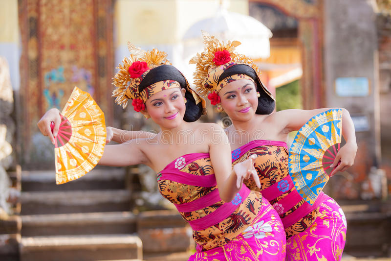 BALI - June 27 : girl performing traditional Indonesian dance at royalty free stock images
