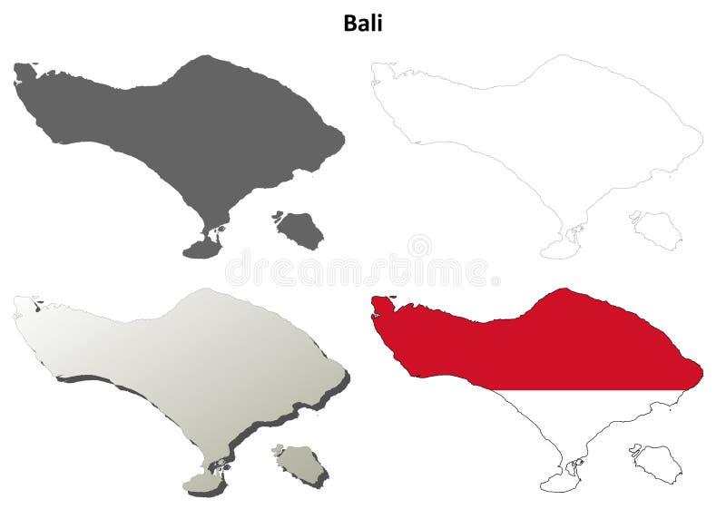 Bali konturu mapy pusty set royalty ilustracja