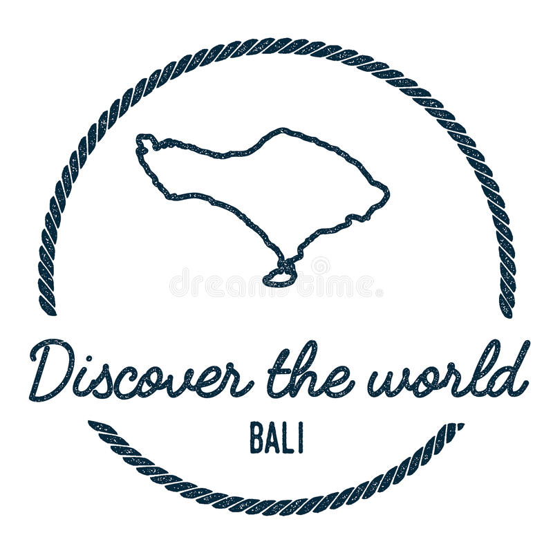 Bali Map Outline. Vintage Discover the World. stock illustration