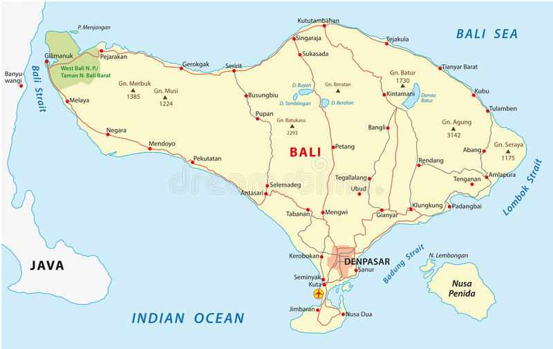 Bali mapa royalty ilustracja