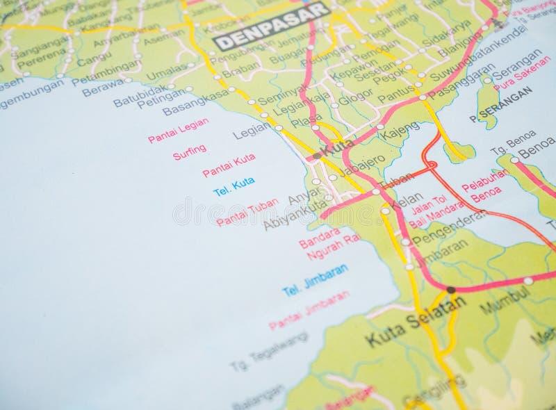 Bali podróży mapy z popularnym miejscem przeznaczenia są Tuban Plażowy, Kuta plaża, Legian plaża, Jimbaran plaża fotografia stock