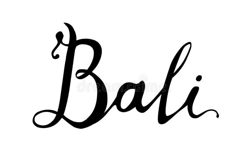 bali Ręki pisać słowa czerń na bielu royalty ilustracja